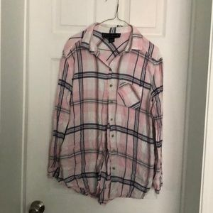 POLLY & ESTHER Plaid Button Down Shirt